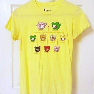 Tokidoki Yellow Short Sleeve T Shirt Dogs Medium